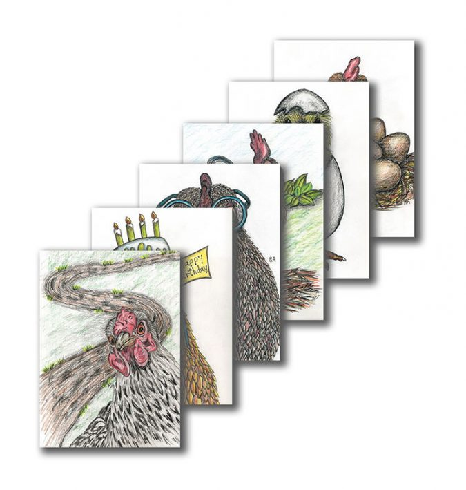 Fanned image of chicken cards